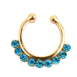 Septum nep goud coated blauwe gems