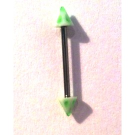 Tepelpiercing groen/wit spike