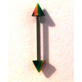 Tepelpiercing rasta spike