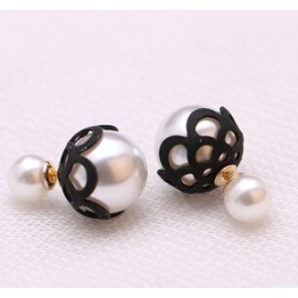 Oorbellen double dots patroon zwart